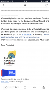 Einladung Backstagetour Eurovision Song Contest 2018